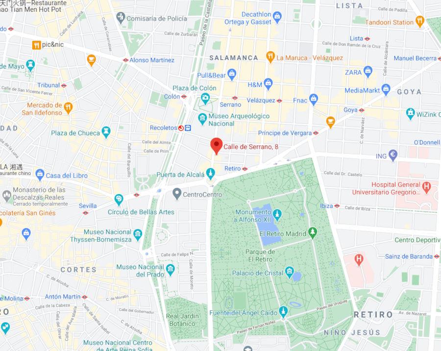 Abogados López-Ibor Mayor y Asociados - Mapa Dirección Serrano 8